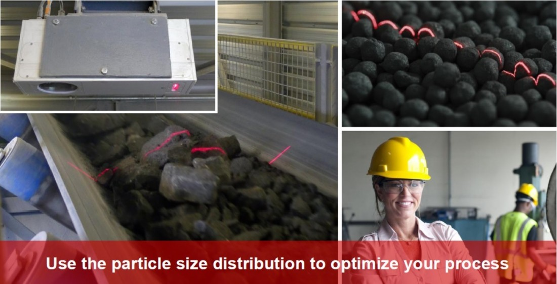 Innovative Machine Vision. Automated particle size distribution measurement using 3D vision. Particle processes. Fragmentation measurement. Fragmentation assessment, crushing, grinding, agglomeration, quality control. 3DPM online measurement system for bulk material on conveyor belt